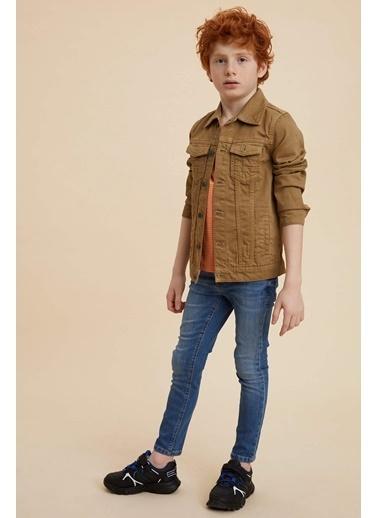 DeFacto Erkek Çocuk Western Jean Ceket Bej